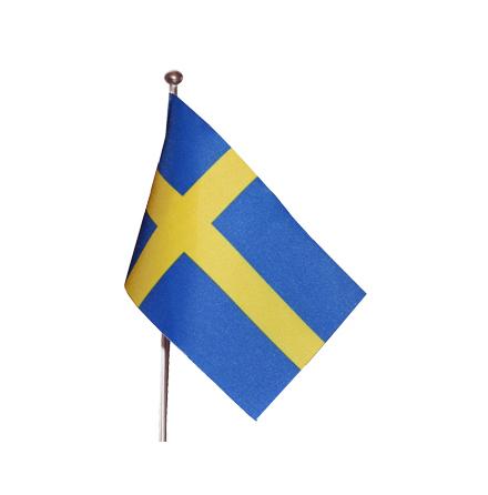 Svensk flagga med 50 cm bordsstång & marmorfot